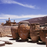 Greece: Carved Stone Pots on Archaeological Site, Knossos, Aegean Island of Crete Photographic Print