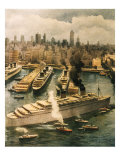 Liner Queen Elizabeth Takes Refuge in New York 1940 Gicleetryck av Achille Beltrame