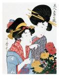 Chrysanthemums, Ukiyo-e print, Japan Giclee Print by Utamaro Kitagawa