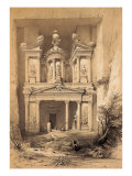 El Kasne (Treasury), Petra, Jordan, 1843 Engraving Reproduction procédé giclée par David Roberts