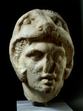 Alexander the Great 356-323 BC, Pentelic Marble Head Wearing Lion Head Helmet Photographic Print
