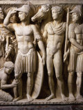 The Hero Achilles Putting on his Armour, Achilles at Court of King Lycomedes, Marble Sarcophagus Photographic Print