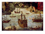 Spanish Caravels, from Virgin of the Navigators, Altarpiece Giclee Print by Alejo Fernandez