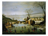 Landscape with Frozen Lake, c. 1600-20 Giclee Print by  Flemish School