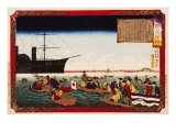 American Navy Commodore Matthew Perry arrives in Japan, August 7, 1853, Woodblock Print Giclee Print by Taiso Yoshitoshi
