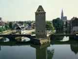 Covered Bridges with Square Medieval Tower, Strasbourg, Alsace, France Photographic Print