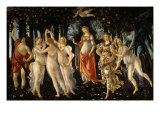 La Primavera (Spring), c.1477, with Venus, Zephyr, Chloris, Flora, Mercury, Cupid, Three Graces Giclee Print by Sandro Botticelli