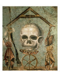 Symbols of Afterlife, Roman Mosaic from House of Tragic Poet, Pompeii, Italy Reproduction procédé giclée