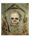 Symbols of Afterlife, Roman Mosaic from House of Tragic Poet, Pompeii, Italy Digitálně vytištěná reprodukce