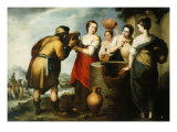 Rebecca and Eliezer at the Well Giclee Print by Bartolome Esteban Murillo