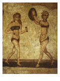 Young Women with Dumb-bells and Discus, Mosaic of Palaestra Games, Roman villa, Casale Giclee Print