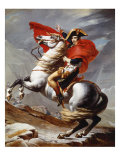 Napoleon Bonaparte, 1769-1821, Emperor of the French, Crossing the Alps Gicleetryck av Jacques Louis David