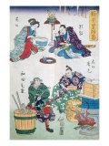 Eating and Cooking, Theatre Scenes, Series of Kabuki Theatre, Ukiyo-e Print, 19th century Reproduction procédé giclée par  Japanese School