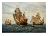 Caravels of Christopher Columbus, 1451-1506 Italian (Genoese) Explorer Giclee Print by Rafael Monleon Y Torres