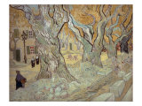 The Road Menders at Saint-R, or Large Plane Trees, 1889 Giclee Print by Vincent van Gogh