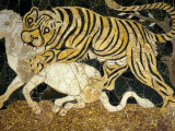Tigress Attacking a Calf, Opus Sectile (Marble Inlay) Panel, 4th century AD Roman Photographic Print