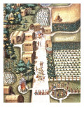 Kitchen Gardens and Town of Secota, Virginia, engraving by Theodore de Bry, 1528-98 Giclee Print