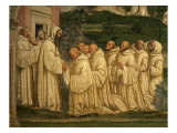 St Benedict of Nursia Prays with his Monks, Fresco Giclée-tryk af Giovanni Antonio Bazzi Sodoma
