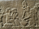Soldiers Eating, from Military camp, relief, 7th century BC Assyrian Photographic Print