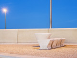 Stone Table and Seats on Promenade, Cleveleys, England, U.K Photographic Print by Kevin Walsh