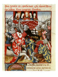 Tournament of Knights of Round Table, 15th century French Manuscript Giclee Print
