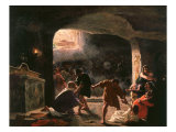 The Slaughter of the First Christians in the Catacombs Giclee Print by Giuseppe Mancinelli