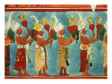 Scenes from Religious Ceremony with Richly Dressed Priests, Musicians and Masked Dancers Giclee Print