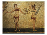 Young Woman Crowning Herself; Another Dancing, Mosaic of Palaestra Games, Roman villa, Casale Giclee Print