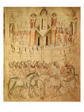 Soldiers at the Gates of Jerusalem, from 13th Century Manuscript Velislavovy Bible Giclee Print
