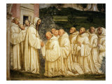 St Benedict of Nursia (480-550) Prays with his Monks, Fresco Giclée-tryk af Giovanni Antonio Bazzi Sodoma