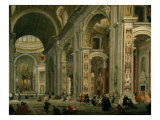 Interior of Basilica of St Peters, Rome Giclee Print by Giovanni Paolo Pannini