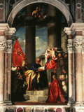 Madonna with Saints and Members of the Pesaro Family, 1519-26 Altarpiece Fotografisk tryk af Titian (Tiziano Vecelli)