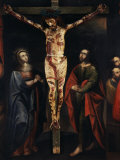 Christ on the Cross with Virgin Mary and Saint John painted, 17th century Cuzco school, Peru Photographic Print