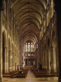 Nave, Saint-Denis Cathedral, Gothic, Founded 1137 by Abbot Suger Photographic Print