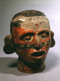 Human Head, Vessel, Painted Ceramic, from Valley of Oaxaca, Mexico Photographic Print