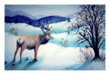 Large Stag Surveys Valley Giclee Print by Rich LaPenna