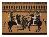 Amazons Fighting, Engraving from Greek Vases Conserved at Leyden, Holland, 19th century Giclee Print
