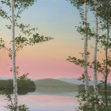 Cooper Sunset Birches Art by Elissa Gore