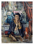 Portrait of the Artist's Wife in a Cafe, 1919 Giclee Print by Aleksandr Aleksandrovich Osmerkin