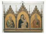 Madonna and Child with SS. Matthew and Nicholas, Altarpiece, 1328 Giclée-tryk af Bernardo Daddi
