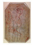 Study of Figures and the Creation of Adam Giclee Print by  Michelangelo Buonarroti