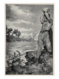 Thorbion lifted the huge stone, from 'Hero Myths and Legends of British Race' by M.I. Ebbutt, 1910 Giclee Print by John Henry Frederick Bacon