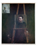 Self Portrait Mounted on an Easel, 1605 Giclée-tryk af Annibale Carracci