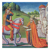 Pope Adrian I meeting Charlemagne, miniature from the 'Chronicles of France', printed by A.Verard,  Giclee Print