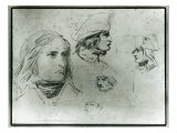 Sketches of Napoleon Bonaparte, 1797 Giclee Print by Jacques-Louis David