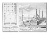 Plan and View of the Blue Mosque Giclee Print by Johann Bernhard Fischer Von Erlach