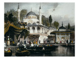 The Mihrimah Sultan Mosque at Uskudar, on Anatolian Shore of Bosphorus, Facing Istanbul, 1839 Giclee Print by Thomas Allom