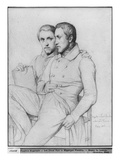 Double Portrait of Hippolyte and Paul Flandrin, 1835 Giclee Print by Hippolyte Flandrin