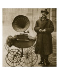 A Street Hawker Entertains with a Gramophone, Transported in a Pram Giclee Print