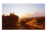 Romantic Landscape, 1860 Giclee Print by Antal Ligeti